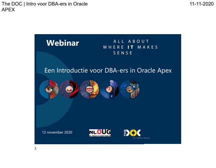 Meetup 12 nov 2020 – Marcel v.d. Plas – De veranderende rol van DBA met APEX