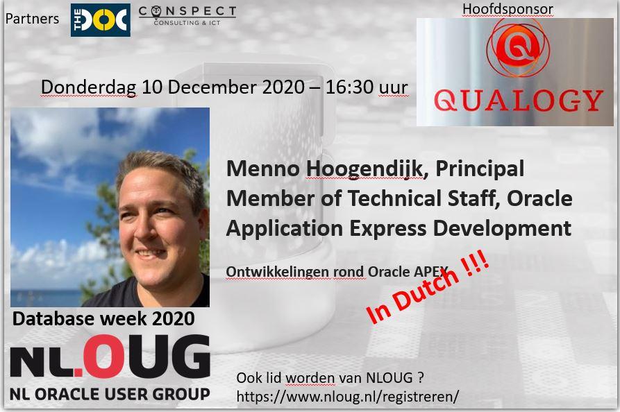 NLOUG Database week 2020 : Menno Hoogendijk – Ontwikkelingen rond Oracle APEX