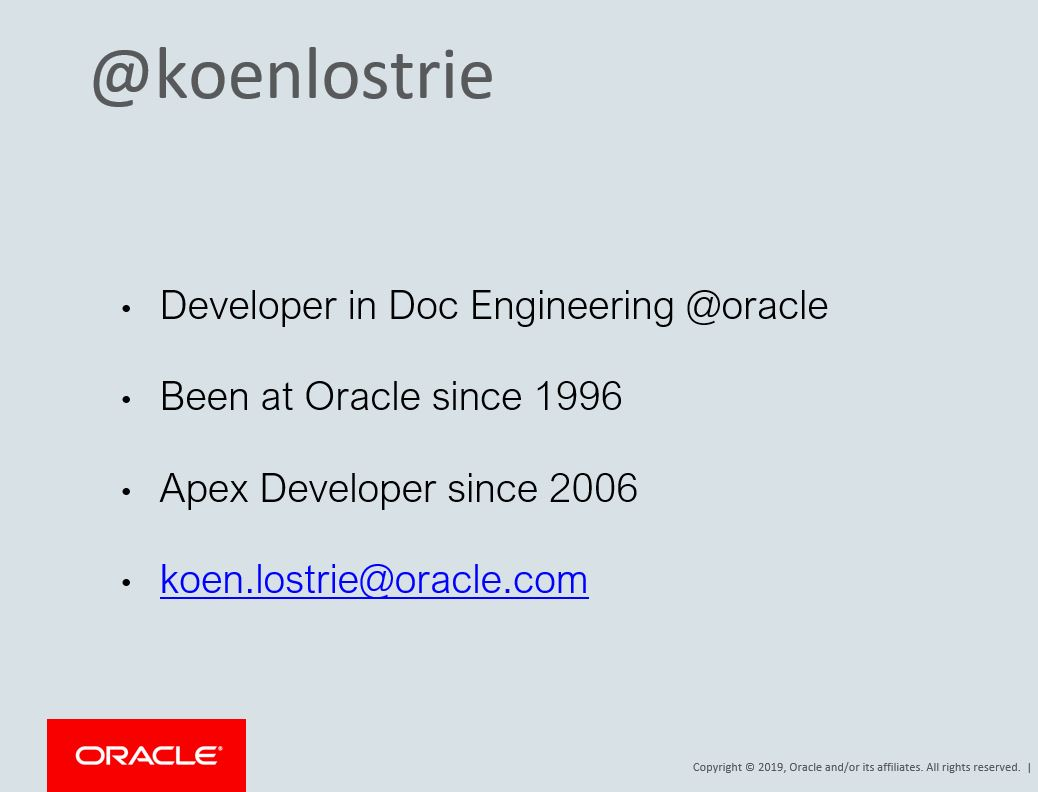 APEX 2019: Application Features – Koen Lostrie