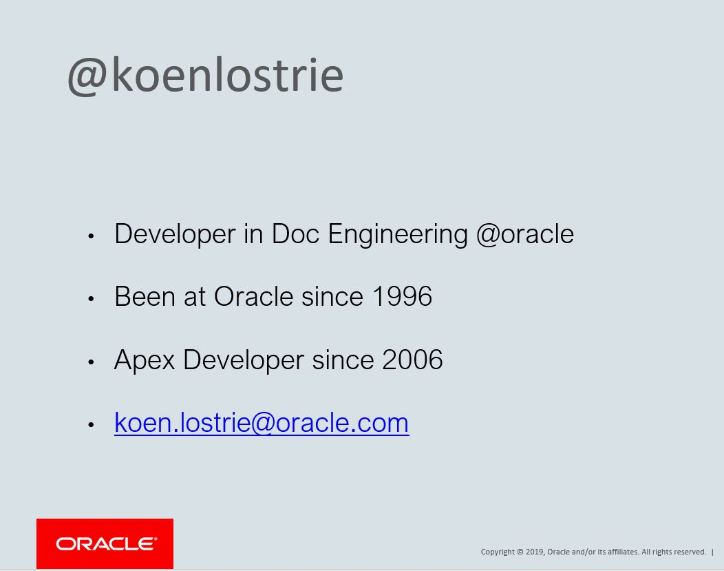APEX 2019: Oracle Learning Library – Koen Lostrie