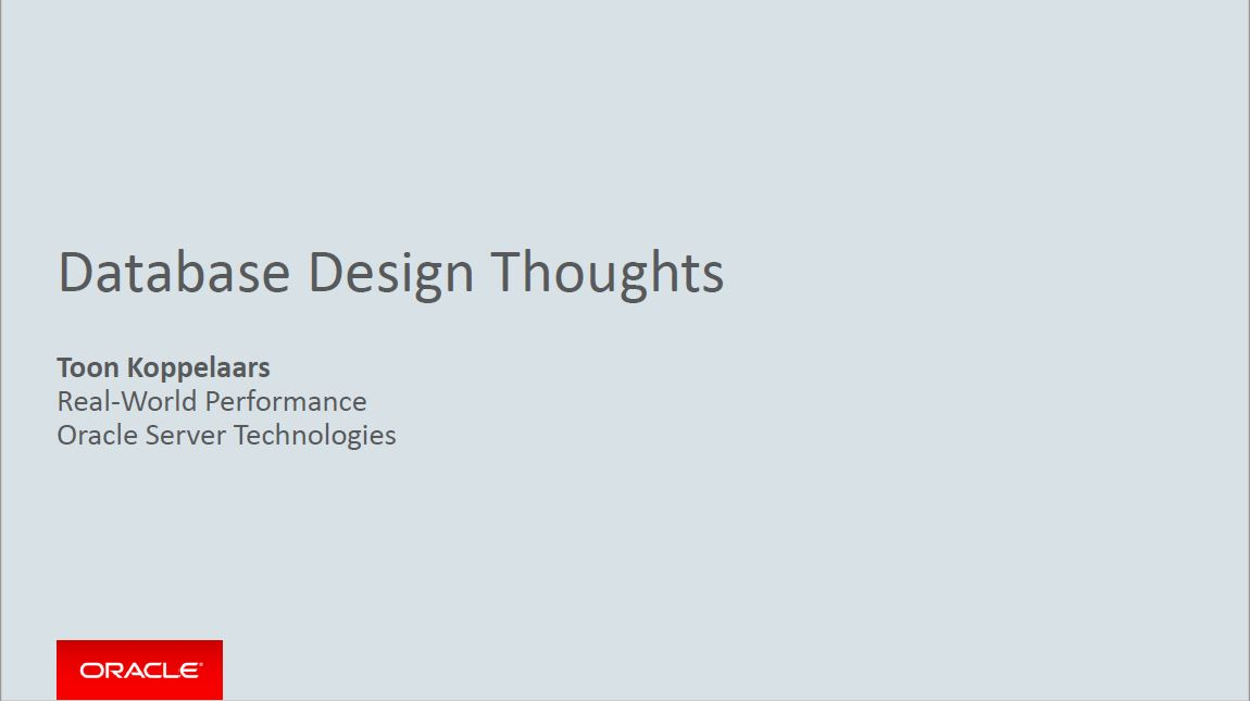 Meet-up 5 Maart 2019: Database Design Thoughts – Toon Koppelaars