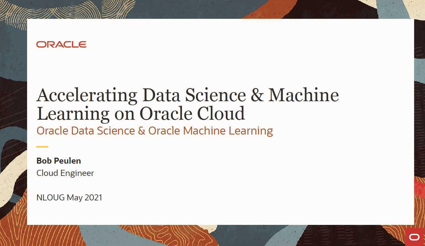 Meetup Mei 2021: Hands-on bij Machine Learning bij Aut.Data Warehouse – Bob Peulen